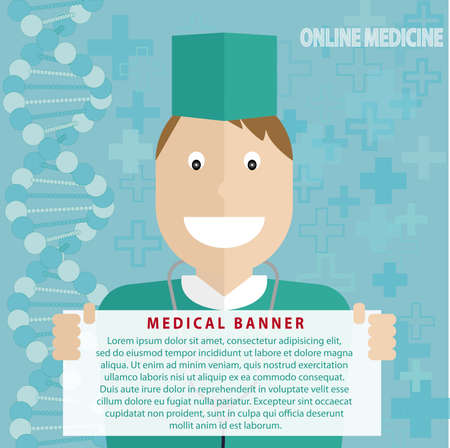 biotech: Online medicine, healthcare, a doctor with white banner for your text, web clinic, blue medical background with DNA strand - Stock Photo
