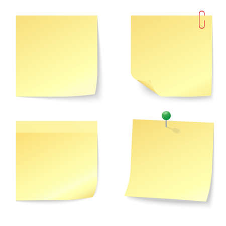 paper note: Set of Blank Yellow Sticky Notes with Push Pin and Paperclip isolated on white background