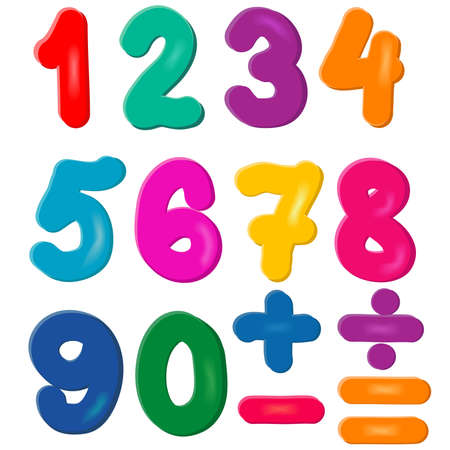 Brightly Colored Numbers, handwritten  numerals set, children education.