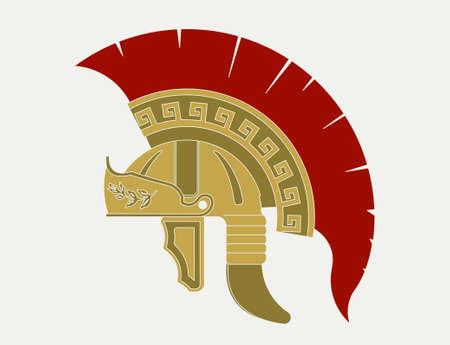 Gladiator helmet  logo, Ancient Roman legionnaire emblem.  Greek Warrior, spartan heroic soldier