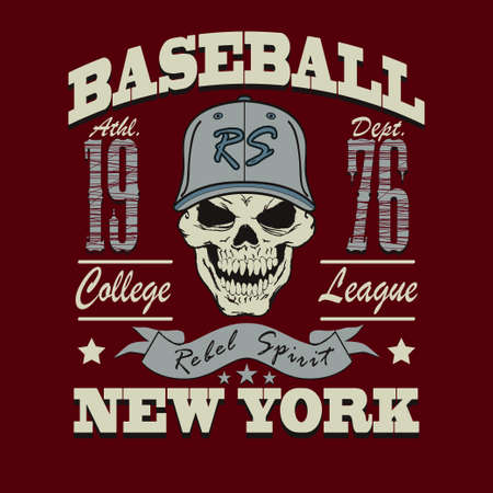 softball: Baseball t-shirt graphic design. New York City College typography emblem Stock Photo