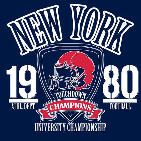 dept: New York Sport Typography, University Football Athletic Dept. T-shirt graphics, Vintage Print for sportswear apparel Stock Photo