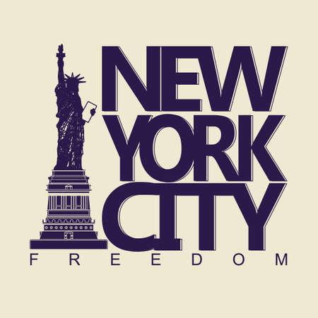 civic: New York City Typography Graphics, Statue of Liberty, freedom. T-shirt Printing Design Stock Photo