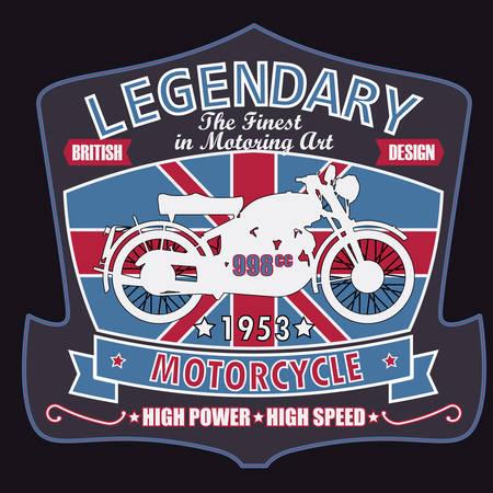 legendary: British Legendary Motorcycle Racing Tpography Graphics Label. T-shirt Design Stock Photo
