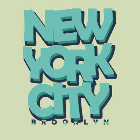 brooklyn: New York City Typography Graphics Label. T-shirt Printing Design, Brooklyn original wear Stock Photo