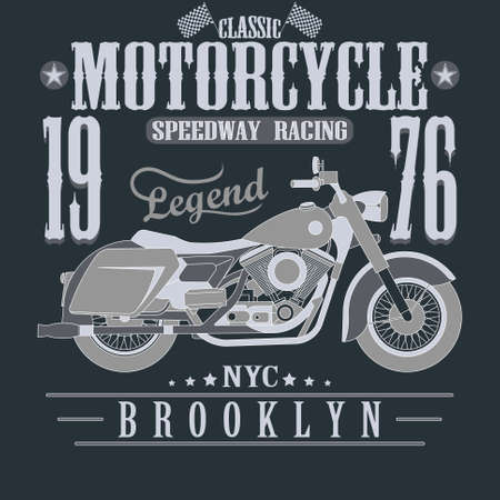 brooklyn: Motorcycle Racing Typography Graphics. Brooklyn Speedway Racing, New York. T-shirt Design Stock Photo