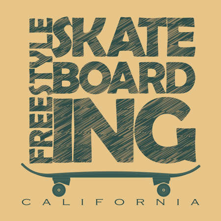 skate board: Skateboarding t-shirt graphic design. Freestyle California Skate Board typography emblem