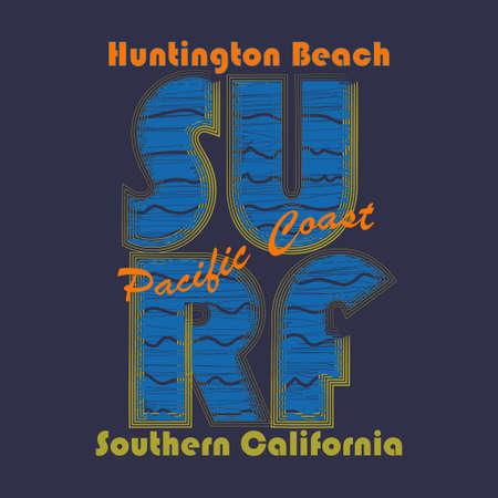 sand surfing: Surfing t-shirt graphic design. Surf Lifestyle. Huntington Beach. Surf typography label, summer, ocean, California, retro style emblem