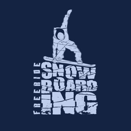 active lifestyle: Snowboarding winter sport t-shirt emblem fashion design