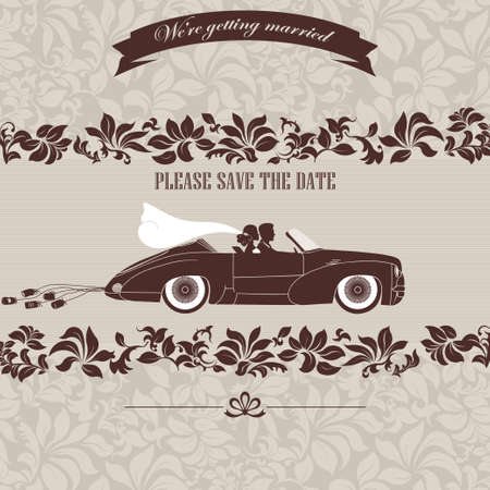 just married: Wedding invitation, the bride and groom in retro car on a floral background