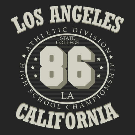 los angeles: California sport emblem design, Los Angeles graphic label