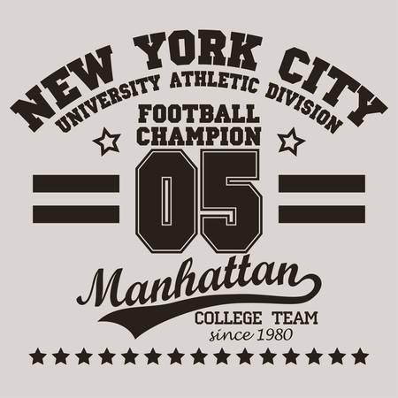 symbol sport: New York City-Typografie-Grafik-Logo, T-Shirt Druck Sport-Zahl-Entwurf