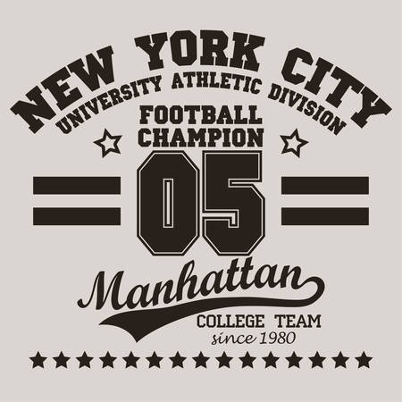 team sport: New York City Typography Graphics logo, T-shirt Printing Sport Number Design Stock Photo