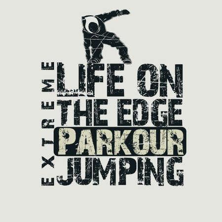 urban grunge: Parkour sport emblem design, urban graphic Stock Photo