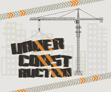 person computer: Under construction, crane and building with caution tape, website, page design. Stock Photo
