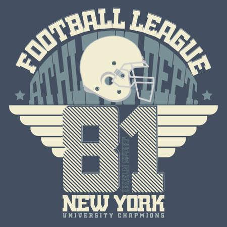 sportswear: Sport Typography, Football T-shirt graphics,  Print for sportswear apparel. vector Illustration