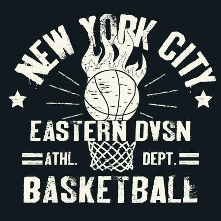 canestro basket: Pallacanestro t-shirt design grafico. Sport di squadra tipografia emblema, Stampa per l'abbigliamento sportivo - illustrazione Archivio Fotografico