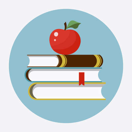 handbook: Books with apple flat icon. Back to school -