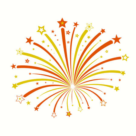Firework with red and yellow stars, star burst, holiday explosion 스톡 콘텐츠