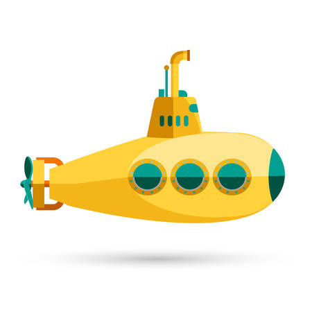 Yellow Submarine with periscope, Flat design. Vector