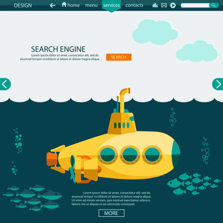 web page: Submarine undersea Flat design. SEO website template, searching engine optimization. vector