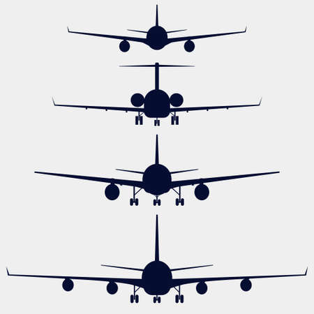 Airplanes silhouette front view, aircraft vector icon set Illustration