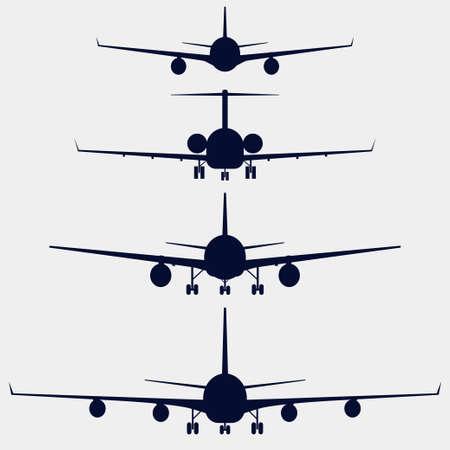 Aviones silueta vista frontal, conjunto de iconos de vectores aviones