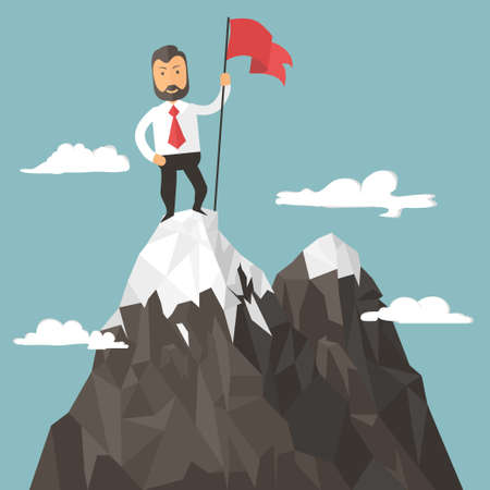 career success: Businessman with flag on a Mountain peak, success and mission, target and victory,  motivation, winner on top. Flat style