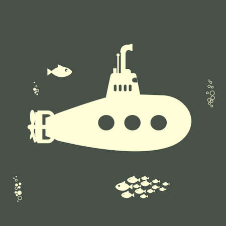 cartoon submarine: Yellow Submarine with periscope, Flat design. Vector