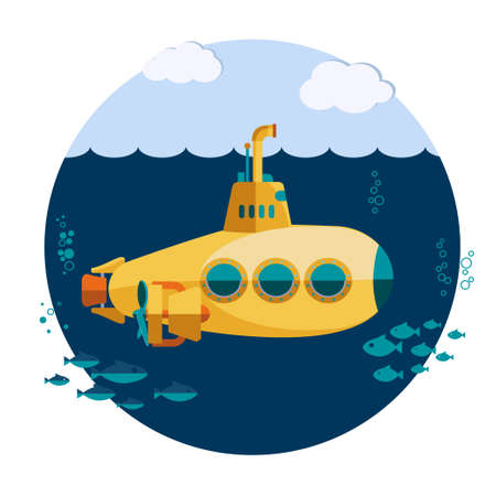 Yellow Submarine undersea with fishes, Flat design. Vector Illustration