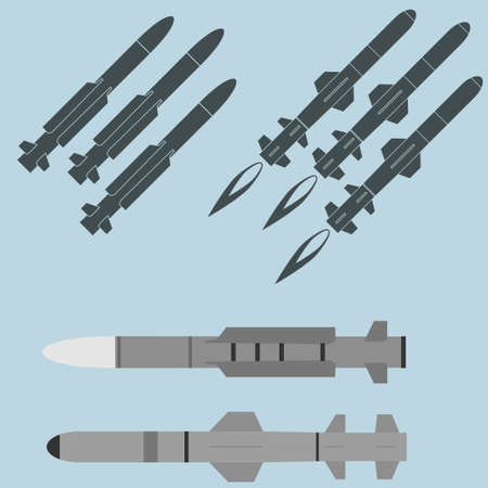 Missile icons, military rocket weapons silhouette.  Danger war equipment, projectile bomb attack.
