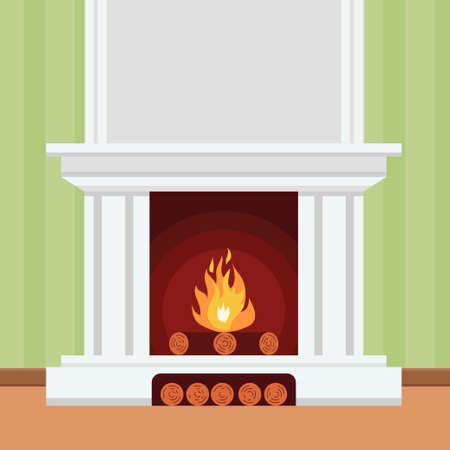 fluted: Fireplace in flat design style Christmas fireplace