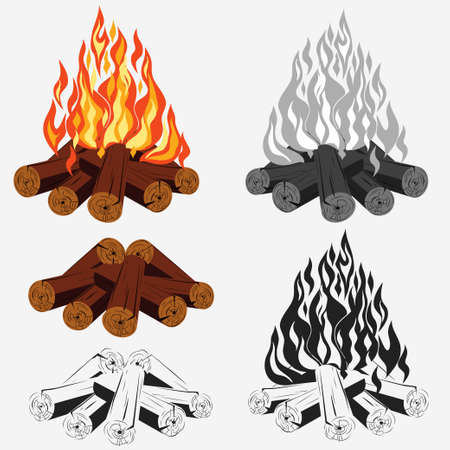 Bonfire set - camping, burning woodpile - campfire - fireplace. 版權商用圖片 - 50127850