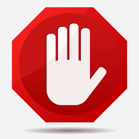 hand sign: STOP Red octagonal stop hand sign for prohibited activities. Vector illustration Illustration