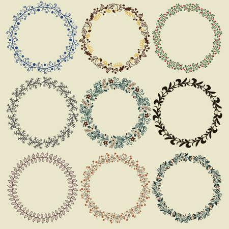 marcos redondos: Conjunto corona de flores. Colección del marco del vector para la creación de la tarjeta, tarjeta de invitación, boda o cumpleaños Vectores