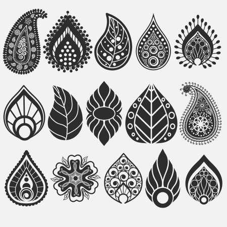 mhendi: Paisley pattern, Oriental leaf, floral elements set. Henna design. Doodles Abstract Vector