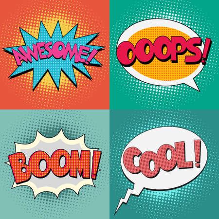Comic Blasen-Text-Set auf einem Punktmuster Hintergrund in Pop-Art Retro-Stil