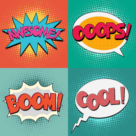 Comic Book Bubble Text set on a dots pattern background in Pop-Art  Retro Style Vettoriali