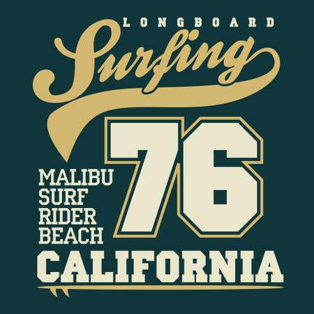 malibu: Surfing t-shirt graphic design. Malibu Beach surf. California surfers wear typography emblem. Creative design. Vector Illustration