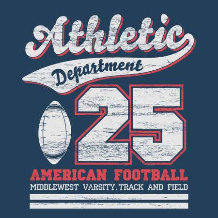 dept: Sport Typography, University Football Athletic Dept. T-shirt graphics, Vintage Print for sportswear apparel. vector