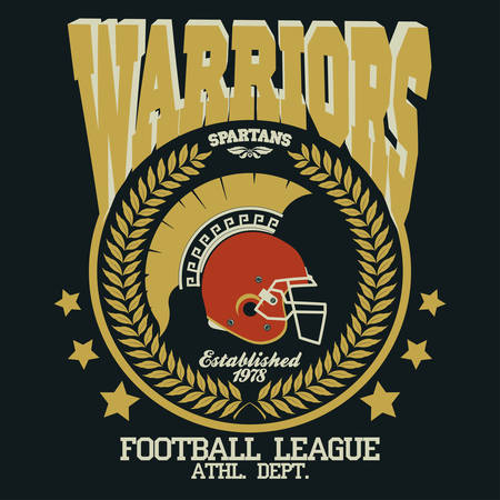 spartan: Football t-shirt emblem with laurel wreath, Spartan Warrior, gladiator icon. Vector Illustration