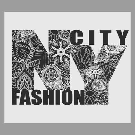 New York T-shirt fashion Typography, Black and white Floral-grunge art design, letters with floral ornament, graphic Print label Illustration