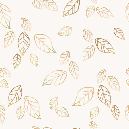 falling leaves: Golden falling leaves vector seamless pattern, decorative background