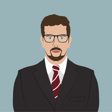 male portrait: Business Man Male Portrait Flat Design. Businessman with glasses  Profile Icon. Vector Illustration