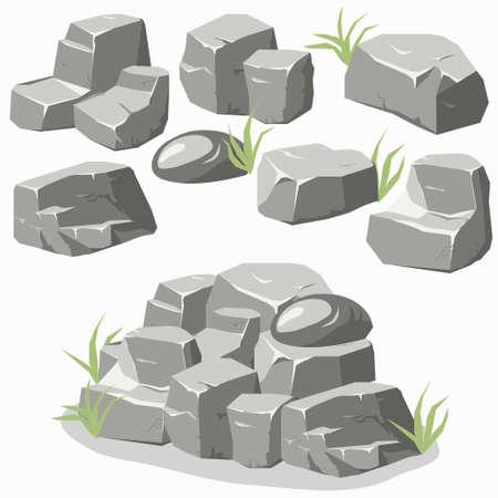 Rocher pierre réglée avec de l'herbe. Des pierres et des rochers dans le style plat 3d isométrique. Ensemble de différents blocs Vecteurs