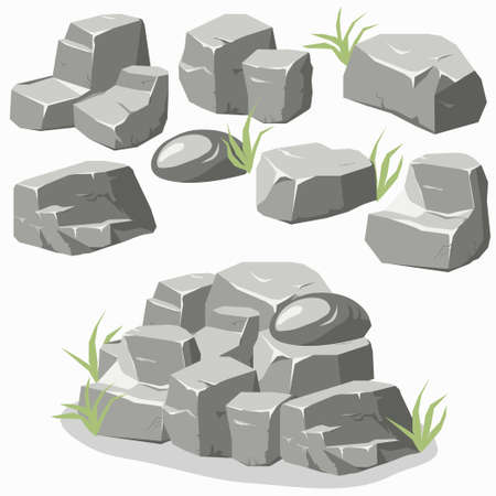 Rock stone set with grass. Stones and rocks in isometric 3d flat style. Set of different boulders