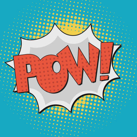 pow: Pow, Comic Book Bubble Text on a dots pattern background in Pop-Art Retro Style Illustration
