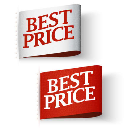 pricetag: Price-tag Labels, Red and White Best Price Message Set