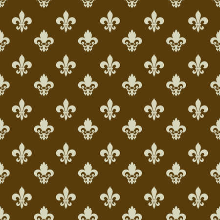 royal french lily symbols: Fleur-de-lys seamless pattern, boundless texture, royal background Illustration