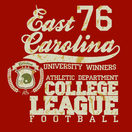 dept: Sport Typography, University Football Athletic Dept. T-shirt graphics, Vintage Print for sportswear apparel. vector